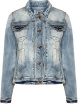 Studio Plus Size Removable collar denim jacket