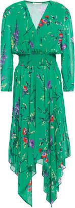Maje Rayema Asymmetric Wrap-effect Floral-print Georgette Dress