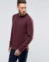 Asos Lambswool Rich Cable Sweater in Burgundy