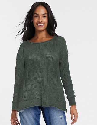 Hollister crew neck long sleeve sweat in olive green