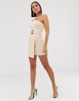ASOS DESIGN one shoulder wrap mini dress with tortoise shell belt