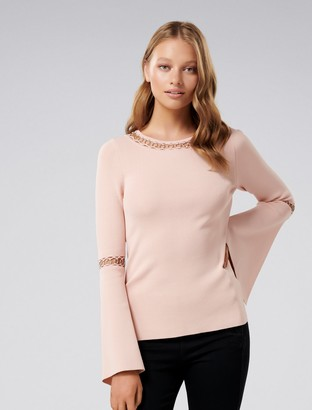 Forever New Tia Petite Eyelet Flare Sleeve Jumper - Blush Pink - s
