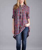 Lily Red & Blue Plaid Flannel Button-Front Tunic - Plus Too