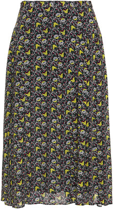 Paul Smith Pleated Floral-print Crepe De Chine Midi Skirt