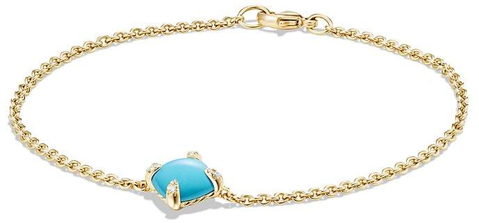 David Yurman Ch'telaine Bracelet with Turquoise and Diamonds in 18K Gold