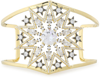 Noir 14-karat Gold-plated Crystal Cuff