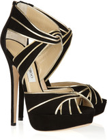 Jimmy Choo Koko metallic leather and suede sandals