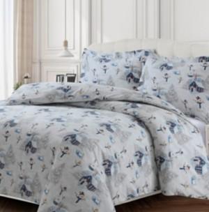 Tribeca Living Snowman Cotton Flannel Printed Oversized King Duvet Set Bedding