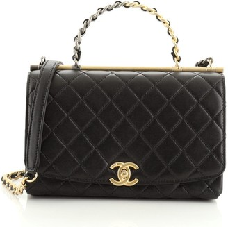 Chanel Two Tone Chain Handle Flap Bag Quilted Lambskin Small