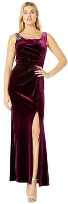 Alex Evenings Long Velvet Dress with Beaded Shoulder Detail (Plum) Women's Dress