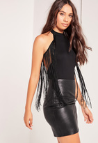 Missguided Fringed Sleeveless Bodysuit Black