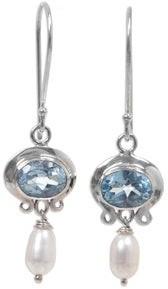 Novica Handmade Sterling Silver 'Sky Fantasy' Pearl Dangle Earrings