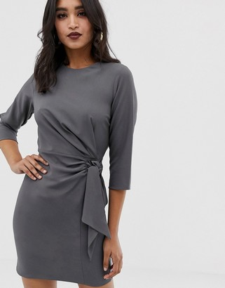 Asos Design DESIGN wrap detail mini dress with long sleeves