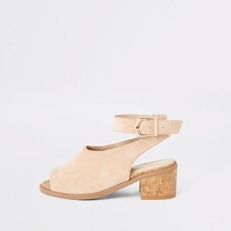 River Island Girls Pink suedette heeled sandals
