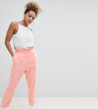 Asos DESIGN Petite tailored casual linen trouser with frill waist-Pink