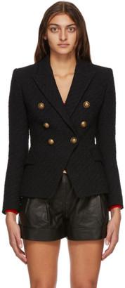 Balmain Black Tweed Six Button Blazer