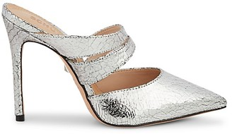 Schutz Kaela Cracked Metallic-Leather Stiletto Mules