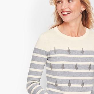 Talbots Sparkle Tree Stripe Sweater