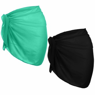 URATOT 2 Pack Women Chiffon Short Sarong Cover Up Beach Wrap Swimsuit for Vocation Black and White