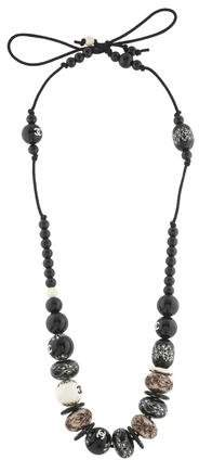 Chanel Embossed Bead Necklace