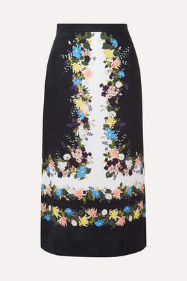 Erdem Maira Floral-print Silk-crepe Midi Skirt - Black