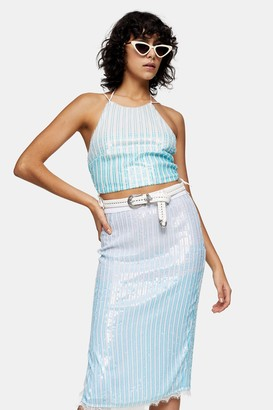 Topshop Womens Idol Blue And White Ombre Sequin Halter Neck Top - White