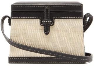 Hunting Season Trunk Mini Raffia And Leather Cross-body Bag - Black Multi