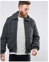 Asos Borg Bomber Jacket In Charcoal Marl