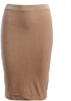 Three Dots Camel Velvet Pencil Skirt