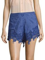 The Jetset Diaries Island Time Cotton & Silk-Blend Floral-Lace Shorts