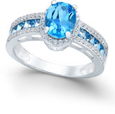 Macy's Blue Topaz (2-3/8 ct. t.w.) and Diamond (1/4 ct. t.w.) Statement Ring in 14k White Gold