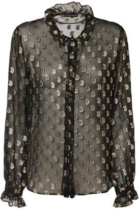 Etro Sheer Georgette Shirt W/ Lurex Paisleys