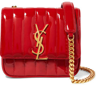 Saint Laurent Vicky Small Quilted Patent-leather Shoulder Bag - Red