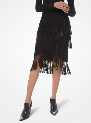 Michael Kors Collection Suede Tiered Fringe Skirt