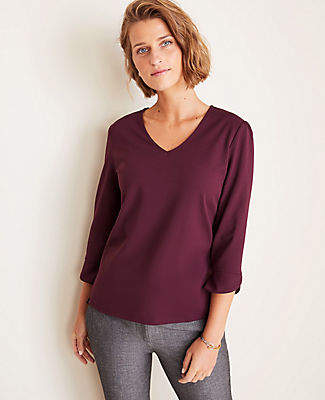 Ann Taylor Petite Fluted Sleeve V-Neck Top