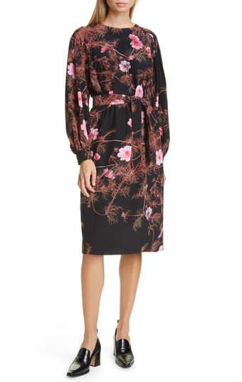 Dries Van Noten Dizan Floral Print Long Sleeve Silk Dress