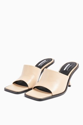 Topshop RADA Cream Leather Square Toe Mules