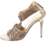 Devi Kroell Pleated T-Strap Sandals