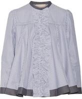 Roksanda Frida Ruffle-trimmed Striped Cotton-poplin Blouse - UK16