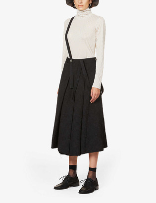 Song For The Mute Pinafore pleated high-rise jacquard midi skirt