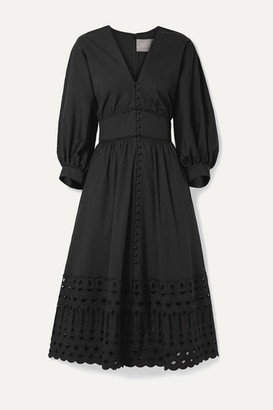 Lela Rose Broderie Anglaise-trimmed Stretch-cotton Poplin Dress - Black