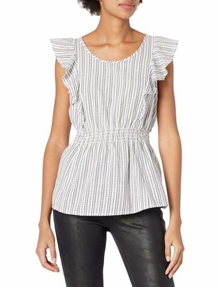 GUESS Women's Sleeveless Rhona Ruffle Top