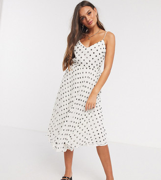 ASOS DESIGN Petite pleated cami midi dress with drawstring waist in polka dot
