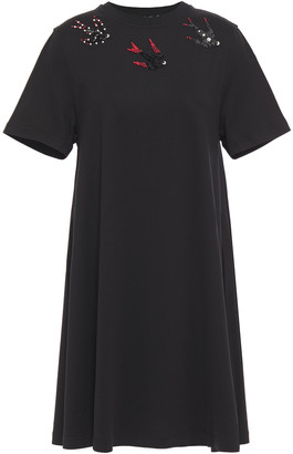 McQ Bead And Sequin-embellished Cotton-jersey Mini Dress
