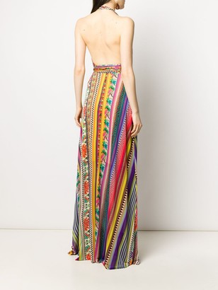 Etro halterneck striped maxi dress