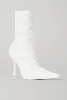 Alexander Wang Vanna Logo-embroidered Ruched Leather Sock Boots - White