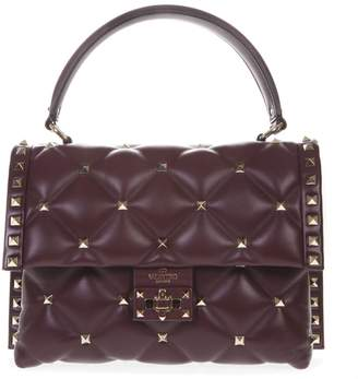 Valentino Garavani Wine Color Candystud Leather Bag