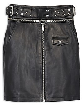 The Kooples Belted Leather Skirt