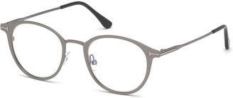 Tom Ford Men's Blue Light-Blocking Oval Metal Optical Glasses, Matte Gunmetal