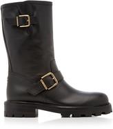 Jimmy Choo Biker Textured-Leather Boots
